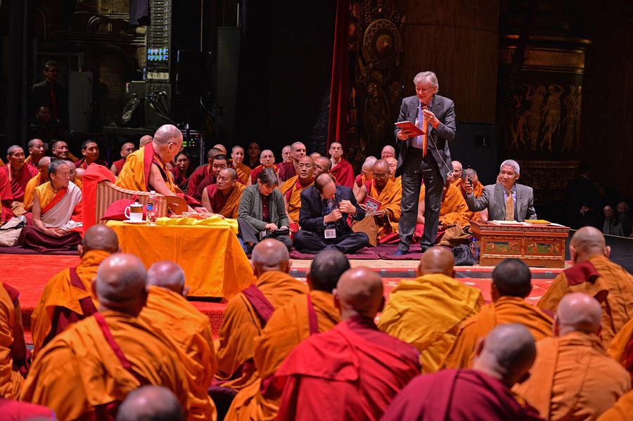 Dalai Lama & Robert Thurman at Beacon Theatre Photo by Sonam Zoksang