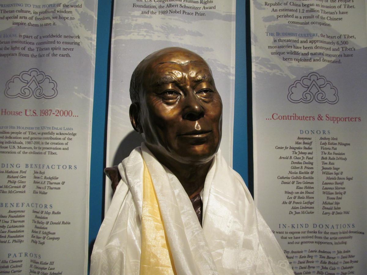 Life Mask Sculpture of Dalai Lama in Tibet House US Lobby