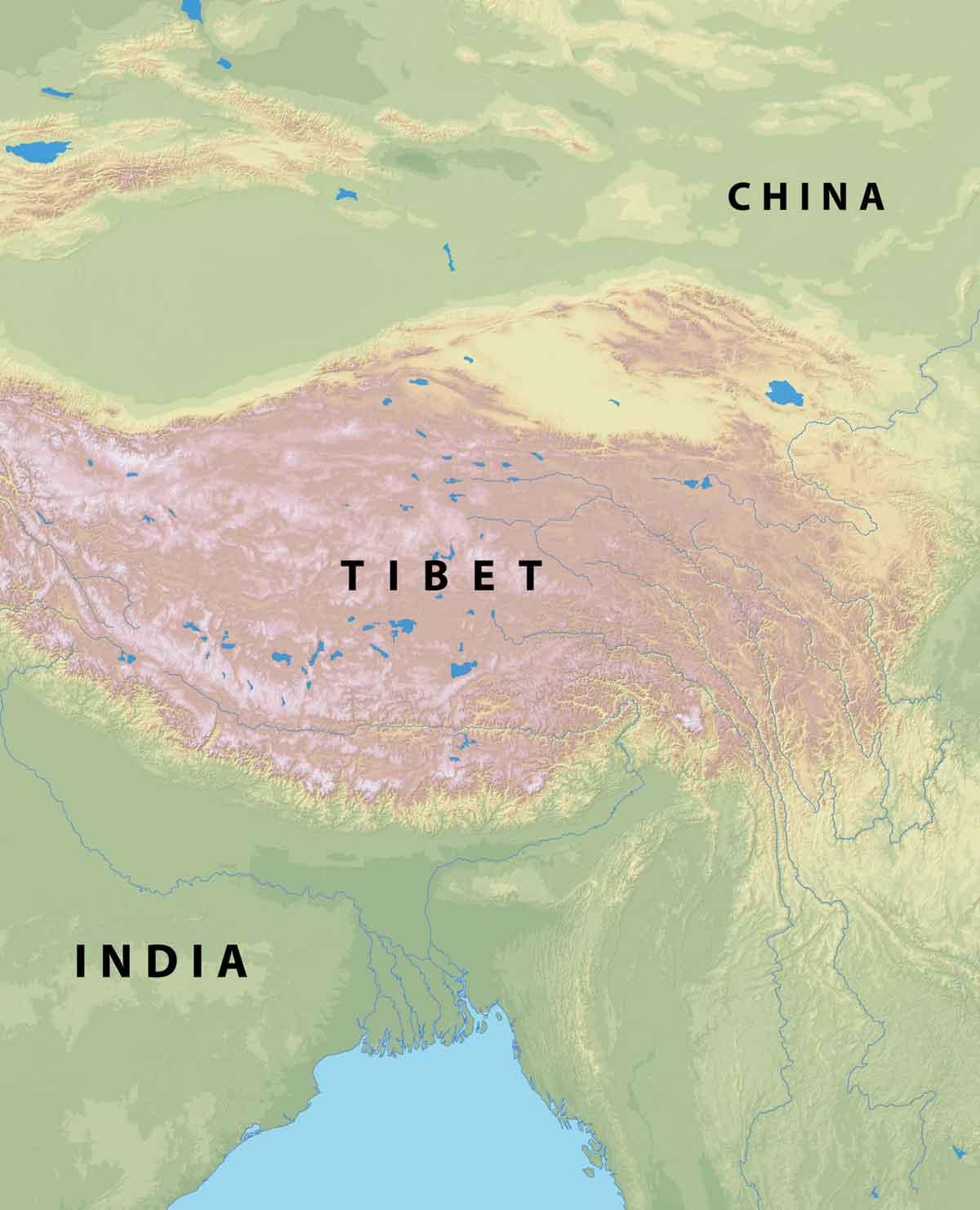 Map Of Tibet, India & China