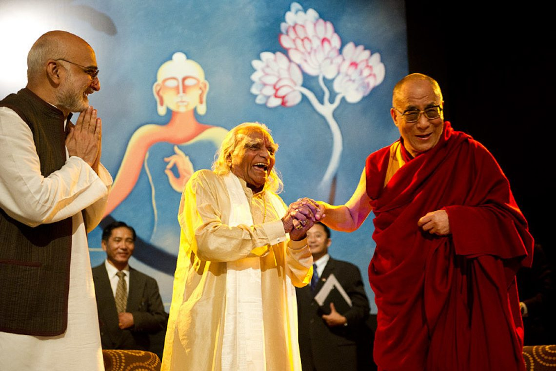 Buddha and Yoga : Buddhist Yoga - Ep. 17 of the Bob Thurman Podcast Photo of Hh Dalai Lama with B.K.S Iyengar from www.dalailama.com.