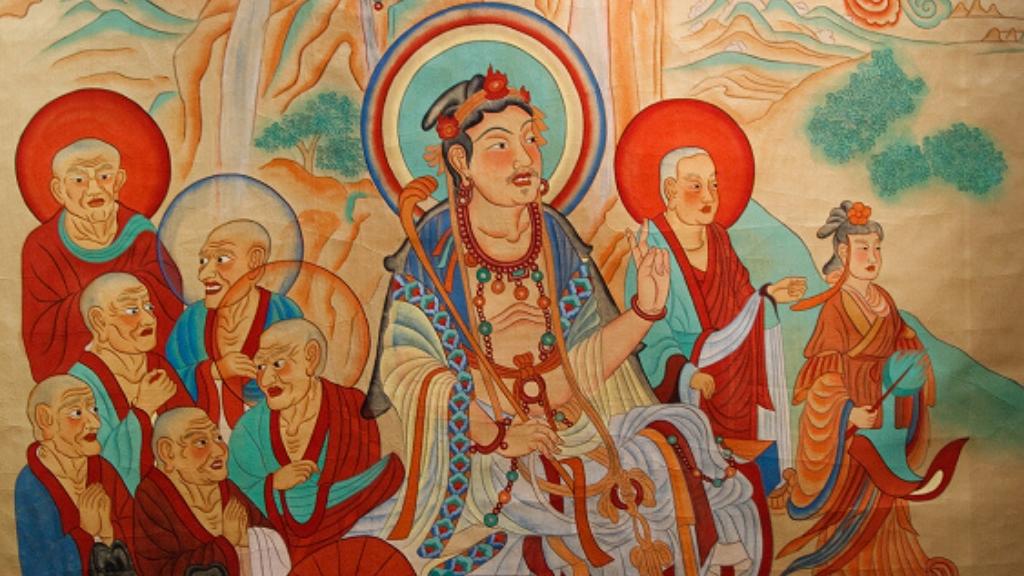Relative & Absolute: Conversation between Manjushri & Vimalakirti, Part 2 – Ep. 39 of the Bob Thurman Podcast Vimalakirti Debates Manjushri Dunhuang Mogao Caves image via www.wikimedia.org.