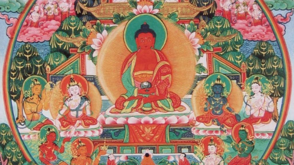The Pureland and Lotus Sutras - Ep 52 of the Bob Thurman Amitabha/Amitayus Buddha - Pureland (Sukhavati) Image via www.himalayanart.org.