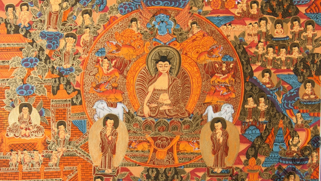 Life of Shakyamuni Buddha _ Buddhist History 101 - Ep. 62 of the Bob Thurman Podcast image by Thangka Painting School, Used with permission, All Rights Reserved via www.traditionalartofnepal.com.
