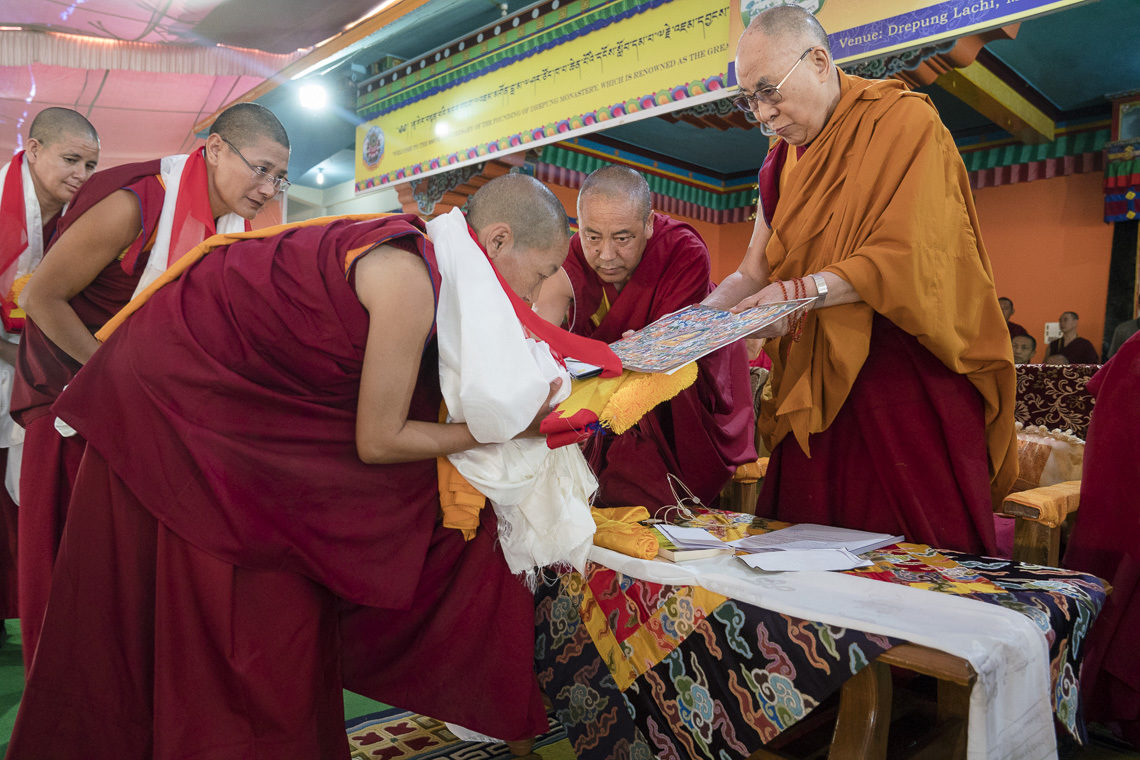 WOmen Receiving Geshe Ma + Robes from HH Dalai Lama
