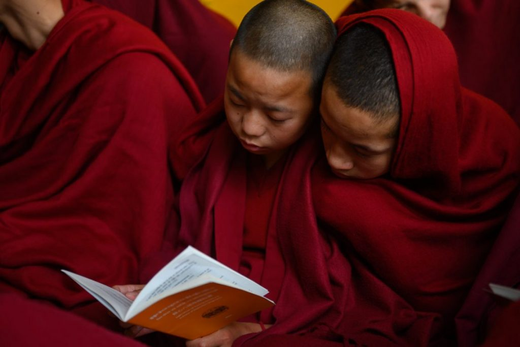 Buddha Soul - Podcast Bonus RAFT Archives of the Bob Thurman Podcast Photo Young Monks studying by Tenzin Chojeor via www.dalailama.com.
