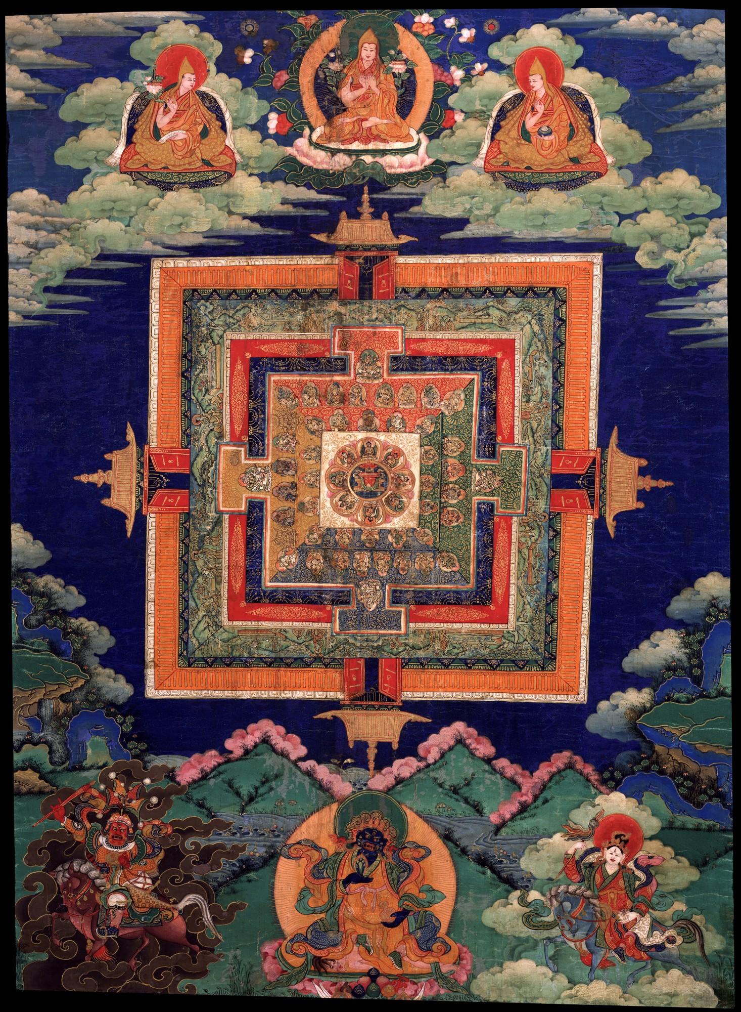 Hiking with the Medicine Buddha - Ep. 232 of the Bob Thurman Podcast Image of the Medicine Buddha Mandala via www. himalayaart.com.