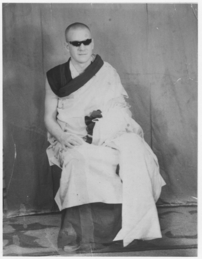 Bob as a new Buddhist monk, ordained by the Dalai Lama in 1964