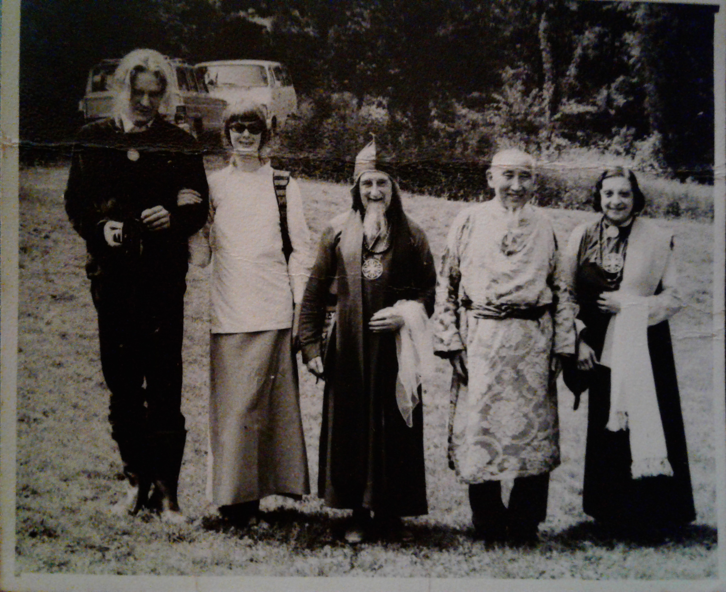 Bob and Nena with Geshe Wangyal, Lama Amagorika Govinda and Lee Gotami in 1973