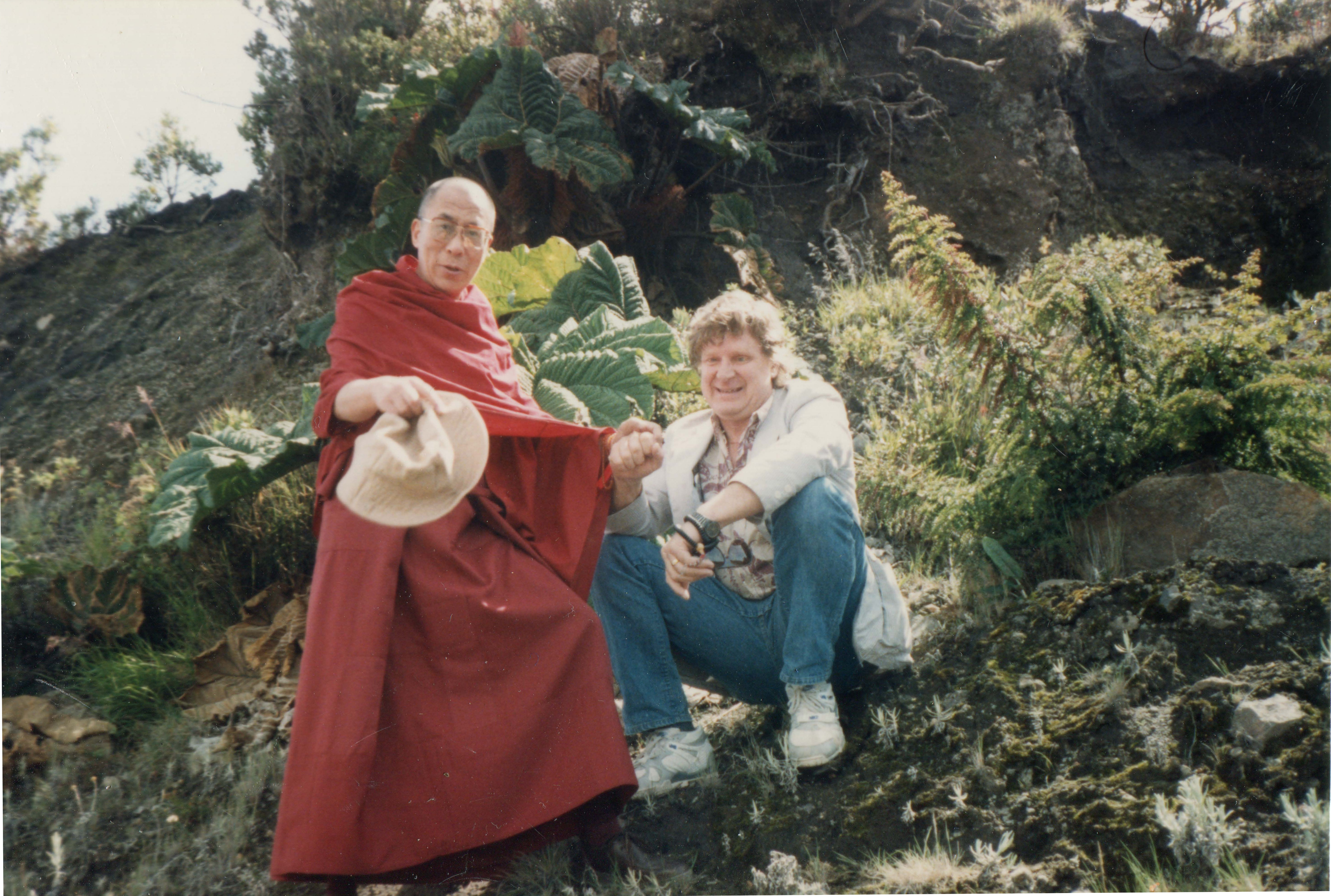 His Holiness the Dalai Lama and Bob on a walk in Costa Rica in 1993