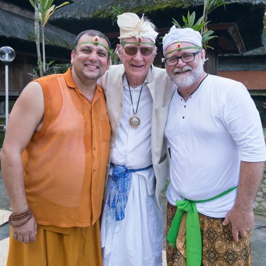 A fun moment at a trip to Bali with the Honourable Geshe Priadarshi and Brent Olson of Geoex Travel in 2017