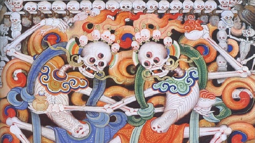 Congratulatory Rejoicing Tibetan Book of the Dead - Ep. 244 of the Bob Thurman Podcast Image via www.himalayanart.org.